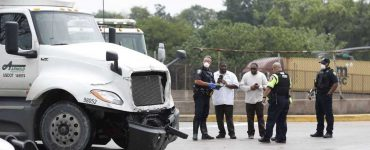 Metro and Houston Police investigate the scene of a crash